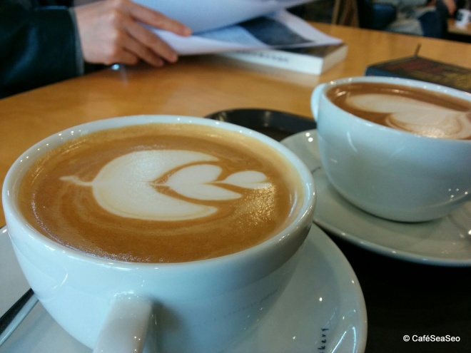 Coffees, including a churros latte, at Jinjeop-eup browny 70